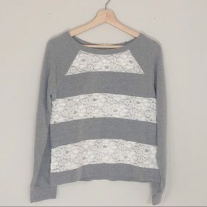 LC Lauren Conrad Striped Lace Sweater